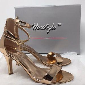 Her style trendy bronze strappy low heel
